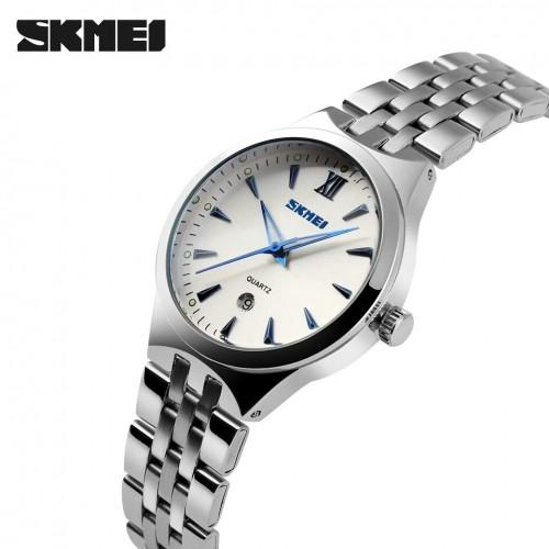 นาฬิกาสวย SKMEI สีขาว+ฟ้า คุณภาพเยี่ยม เข็มเรืองแสง