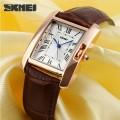 นาฬิกาสายหนัง SKMEI สวยๆ สีน้ำตาล ดูดี สวยงาม คลาสสิค