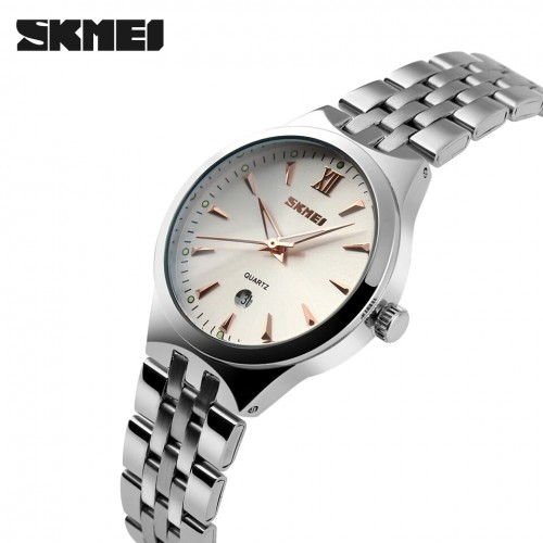 นาฬิกาสวย SKMEI สีขาว+ทองชมพู คุณภาพเยี่ยม แข็งแรงและทนทาน - สวยหรู มีระดับ กับนาฬิกาคุณภาพจาก SKMEI
