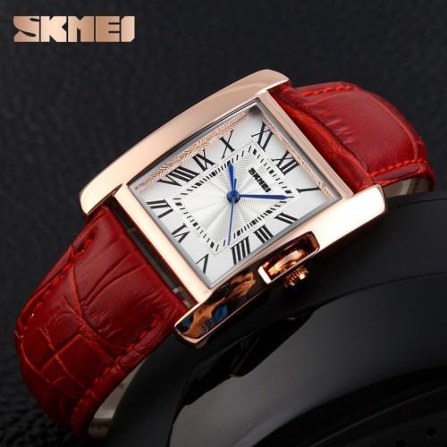นาฬิกาสายหนัง SKMEI สวยๆ สีแดง ดูดี สวยงาม คลาสสิค