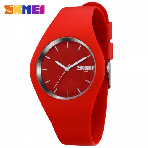 นาฬิกาแฟชั่น SKMEI สีแดง สายยาง สวย น่ารักมากๆ