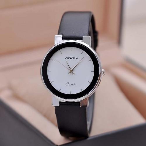 นาฬิกาสายหนัง Sinobi หน้าปัดขาว สวยเรียบ ดูดี