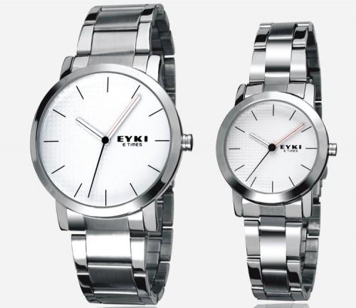นาฬิกาคู่ เรียบหรู ดูดีมาก EYKI สีเงินสวยๆ