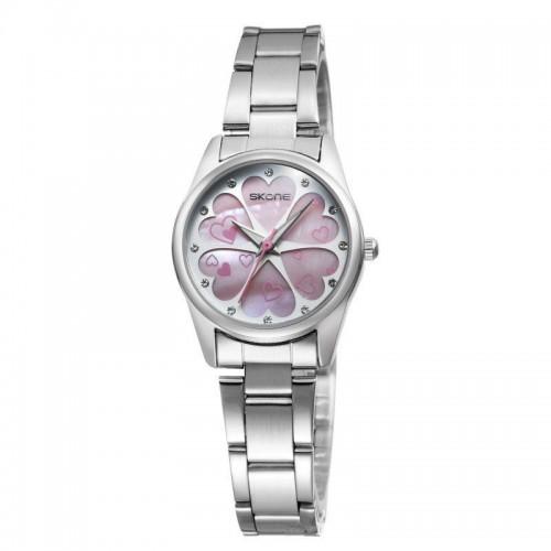 นาฬิกาหรู SKONE สีชมพู หรูหรา Premium ลายหัวใจ