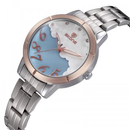 นาฬิกา SKONE น่ารักมากๆ ลายสีฟ้า ขอบ rose gold คุณภาพเยี่ยม