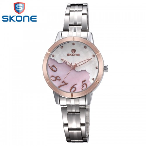 นาฬิกา SKONE น่ารักมากๆ ลายสีชมพู ขอบ rose gold คุณภาพเยี่ยม