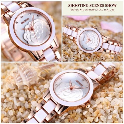 นาฬิกาหรู WEiQiN หน้าปัดสีขาว ขอบ rose gold สวยหวานมาก นาฬิกาคุณภาพดีสุดๆ