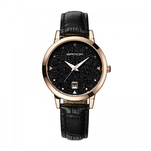 นาฬิกาสายหนังสีดำ สวยเด่น พื้นหน้าปัดประกายกากเพชร ระยิบระยับ