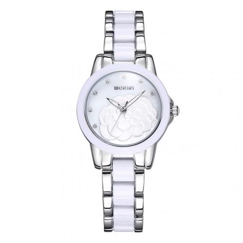 นาฬิกาหรู WEiQiN หน้าปัดสีขาว ขอบสีเงิน สวยดูดีมาก