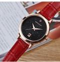นาฬิกาสายหนังสีแดง พื้นหน้าปัดประกายกากเพชร ระยิบระยับ