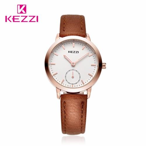 นาฬิกาสายหนัง KEZZI สีน้ำตาล สวย ดู clean ลงตัว