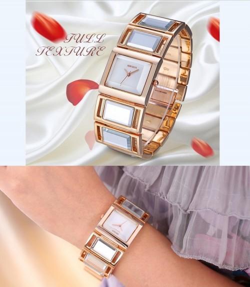 นาฬิกา WEIQIN ขอบสีทองชมพู สวยหรู แฝงด้วยความหวาน