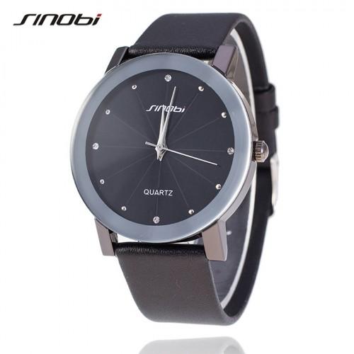 นาฬิกาสายหนัง Sinobi หน้าปัดใหญ่สีดำ ขอบเงิน สวยดูดี