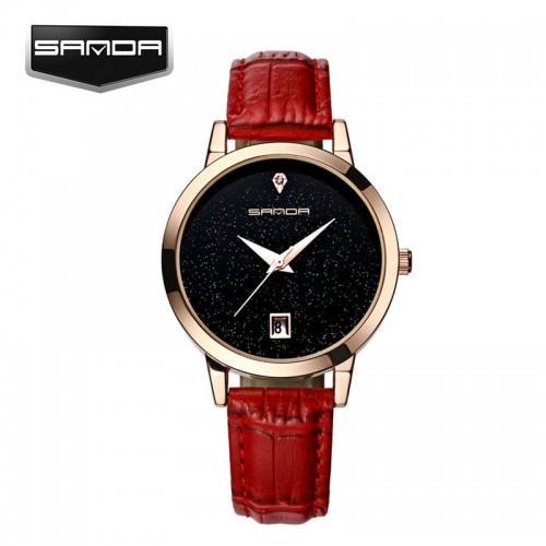 นาฬิกาสายหนังสีแดง พื้นหน้าปัดประกายเม็ดกากเพชร สวยมาก