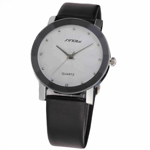 นาฬิกาสายหนัง Sinobi หน้าปัดใหญ่สีขาว สวยดูดี
