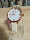 นาฬิกา KEZZI สายหนังสีขาว หน้าปัดลายมุก สวยเรียบ ลงตัว