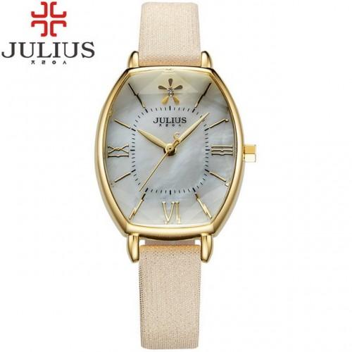 นาฬิกา Julius สายหนัง สีทอง ดีไซน์หน้าปัดและกระจกสวยหรูมากๆ