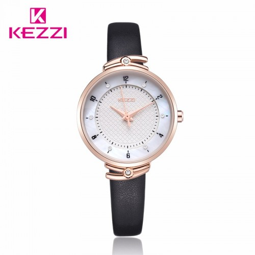 นาฬิกา KEZZI สายหนังสีดำ สวยๆ พื้นหน้าปัดมีรายละเอียด