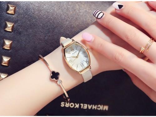 นาฬิกา Julius สายหนัง สีทอง ดีไซน์หน้าปัดและกระจกสวยหรูมากๆ สไตล์เกาหลี