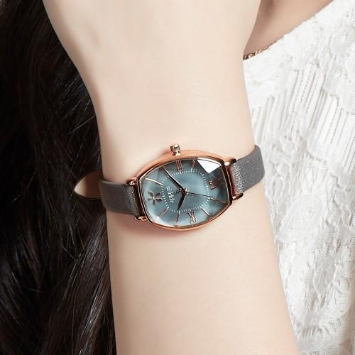 นาฬิกา Julius สายหนัง สีเทา ดีไซน์หน้าปัดและกระจกสวยหรูมากๆ