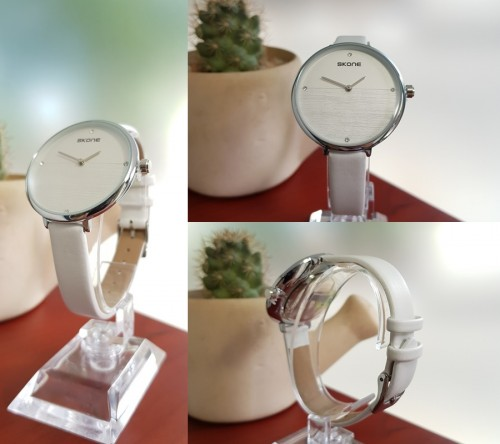 นาฬิกา SKONE สายหนังสีขาว หน้าปัดดูสะอาด สวยมาก
