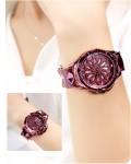 สุดยอดนาฬิกา Mashali สีม่วงแดง รุ่นเอกลักษณ์วงดอกไม้หมุน