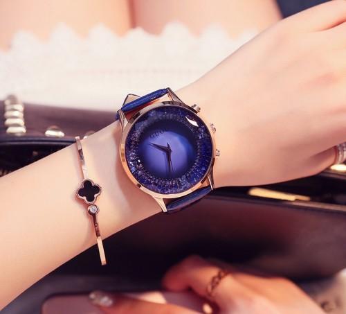 นาฬิกาเรือนใหญ่ คุณภาพดียี่ห้อ GUOU สีน้ำเงินสายหนัง สวยหรูมาก