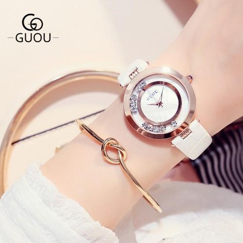 นาฬิกาสายหนังยี่ห้อ GUOU สีขาว สวยหรู งานมีคุณภาพ