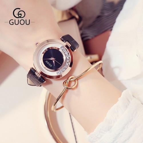 นาฬิกาสายหนังยี่ห้อ GUOU สีดำ สวยหรู งานมีคุณภาพ