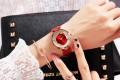 นาฬิกาสายหนังยี่ห้อ GUOU สีแดง สวยหรู งานมีคุณภาพ