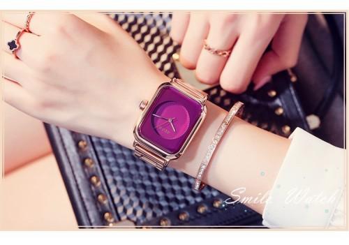 นาฬิกา GUOU หน้าปัดสีม่วง ทรงสีเหลี่ยมโค้งมน เรียบ สวยหรู