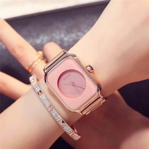 นาฬิกา GUOU หน้าปัดสีชมพู ทรงสีเหลี่ยมโค้งมน เรียบ สวยหรู