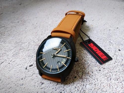 นาฬิกา SKMEI สายหนังน้ำตาล หน้าปัดดำ ลุคดูแมนๆเท่ห์มาก