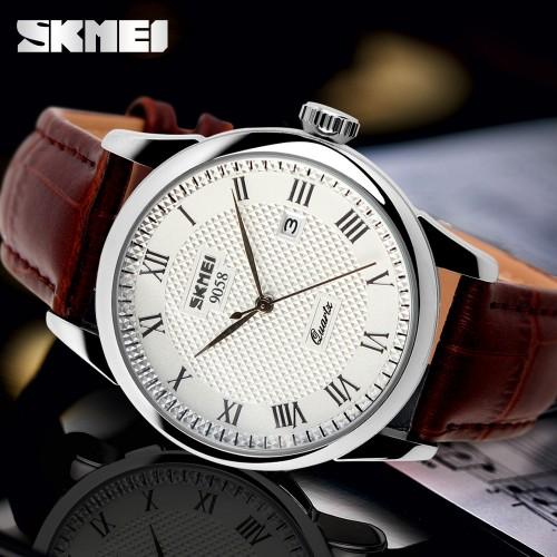 นาฬิกา SKMEI สายหนังน้ำตาล หน้าปัดขาว ทรงคลาสสิค