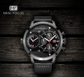 นาฬิกา Mini Focus สายหนัง หน้าปัดดำ สไตล์แบบเรือนโต