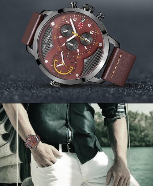 นาฬิกา Mini Focus สายหนัง สีน้ำตาล สไตล์แบบเรือนโต
