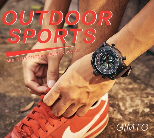 นาฬิกา GIMTO เรือนใหญ่สายหนัง Analog + Digital หน้าปัดดำ