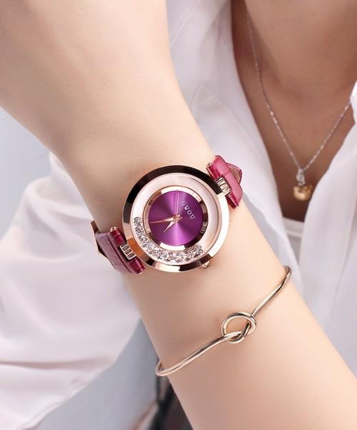 นาฬิกาสายหนังยี่ห้อ GUOU สีม่วง สวยหรู งานมีคุณภาพ