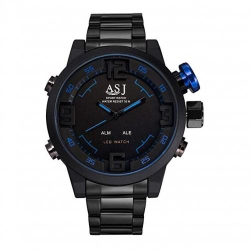 นาฬิกา ASJ เรือนใหญ่สองระบบ Analog + Digital สีดำ,น้ำเงิน งานคุณภาพดี