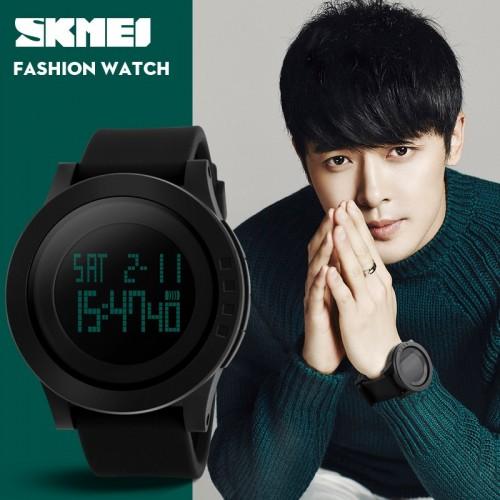 นาฬิกาดิจิตอลเรือนใหญ่ SKMEI สายยางคุณภาพดี สีดำ