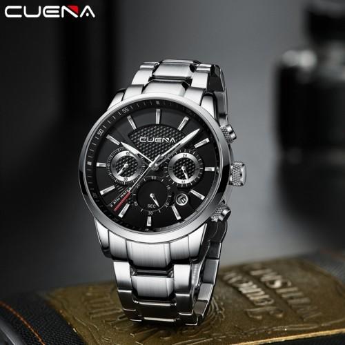 นาฬิกา CUENA หน้าปัดสีดำ สายสีเงิน สวยหรูมาก