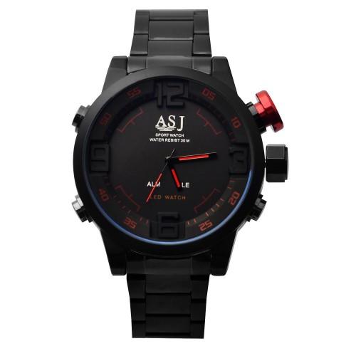 นาฬิกา ASJ เรือนใหญ่สองระบบ Analog + Digital สีดำ,แดง งานคุณภาพดี