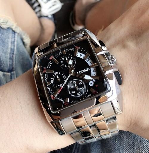 นาฬิกา MEGIR หน้าปัดดำ สายสีเงิน ทรงสี่เหลี่ยม สวยหรู