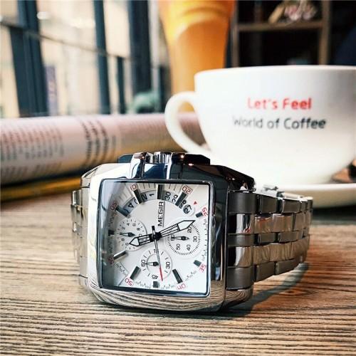 นาฬิกา MEGIR หน้าปัดขาว สายสีเงิน ทรงสี่เหลี่ยม สวยหรู