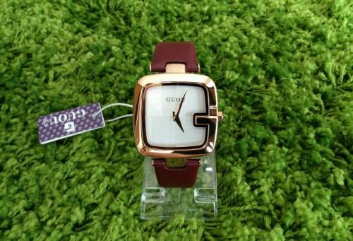 นาฬิกา GUOU สายน้ำตาลแดง หน้าปัดเหลี่ยมขอบมน สวยลงตัวมากๆ