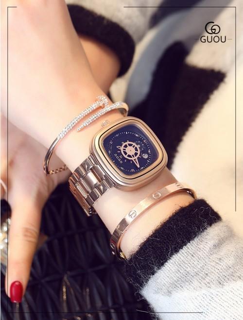 นาฬิกา GUOU หน้าปัดสีดำ สไตล์กลไก ดูคลาสสิคและมีเสน่ห์มาก