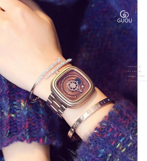นาฬิกา GUOU หน้าปัดสีน้ำตาล สไตล์กลไก ดูคลาสสิคและมีเสน่ห์มาก