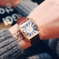นาฬิกาสีน้ำตาล จาก GUOU หน้าปัดเหลี่ยม ลายหน้าปัดสวยมากๆ