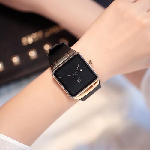 นาฬิกาสายยางเกรดพรีเมียม ยี่ห้อ GUOU สีดำ เรียบหรูมาก