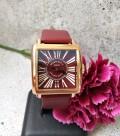 นาฬิกาสีน้ำตาลแดง จาก GUOU หน้าปัดเหลี่ยม ลายหน้าปัดสวยมากๆ